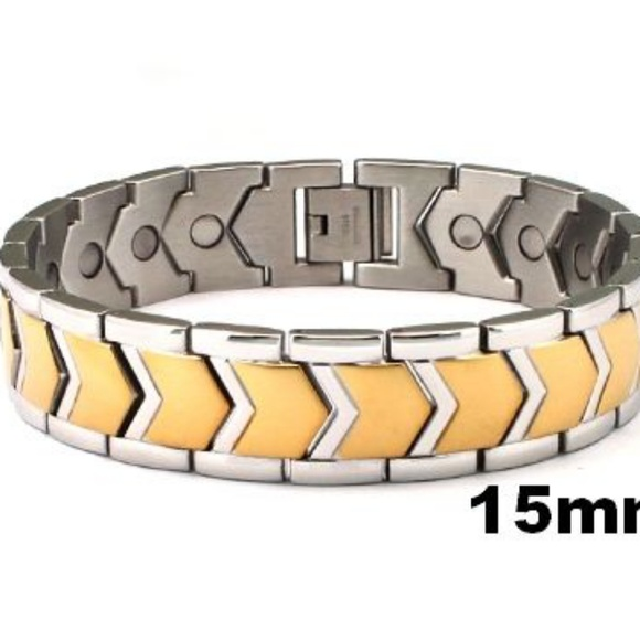 Fashionru Other - 316L stainless steel magnetic two tone bracelet